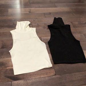 Zara cropped turtleneck tops cream/black small
